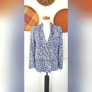 Anthropologie Cartonnier blue leopard knit blazer